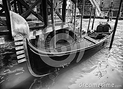 Photo of a famous Gondola in Venice city, Italy