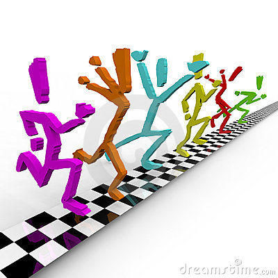 Photo Finish - Runners Cross Finish Line Together