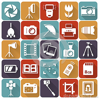 Free Photo Flat Icons. Vector Set. Stock Photos - 49995153