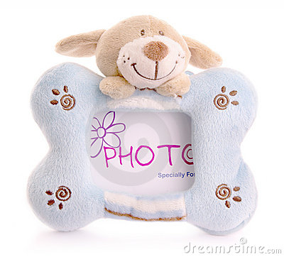 Photo frame with bunny toy