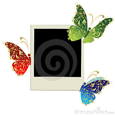 Free Photo Frame Design With Butterfly Decoration Stock Images - 16570334