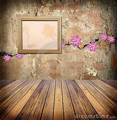 Photo frame over grunge empty room