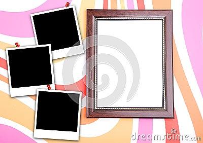Photo frame with polaroid