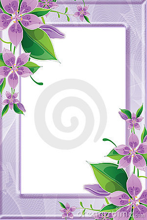 Photo frame with purple flowers