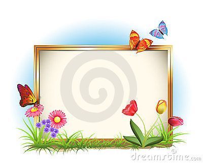 Photo frame with spring flowers
