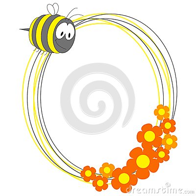 Free Photo Frame With Bee And Flowers Stock Photo - 25174320