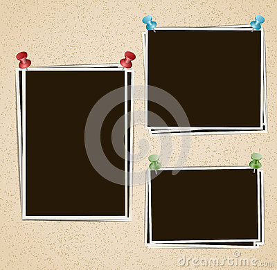 Free Photo Frames Composition With Pushpins On Retro Background Stock Photography - 68648902