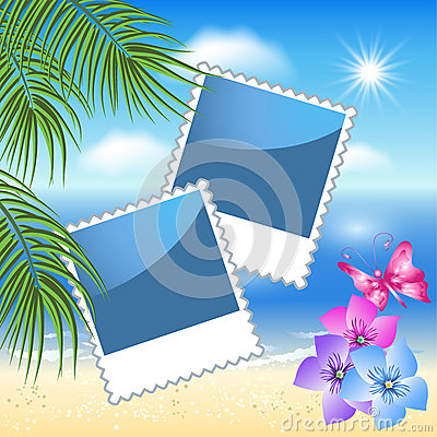 Photo frames with sea landscape