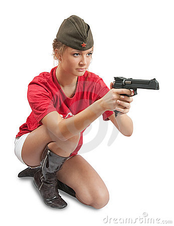 Photo of girl in overseas cap holding gun