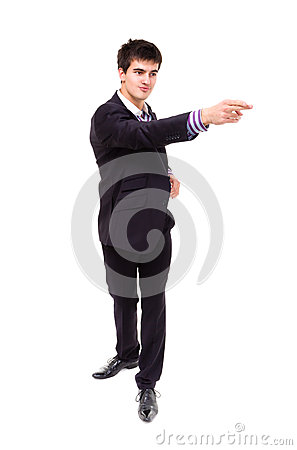 Young businessman pointing to something
