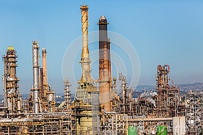 overlooking petroleum oil fuel refinery manufacturing production plant ...