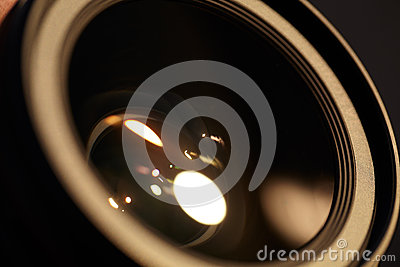 Photo lense with sun reflections.
