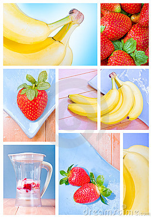 Photo montage with strawberries and bananas