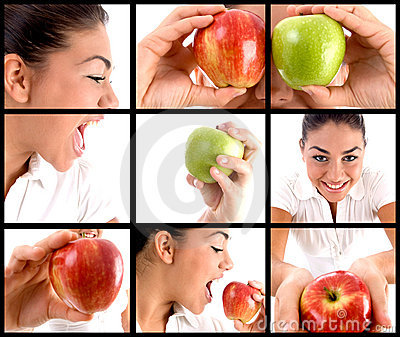 Photo montage of  woman eating apple