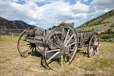 Wooden pioneer wagon Stock Photo