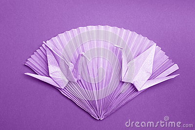 Photo Origami Card - Paper Cranes Fan Stock Photo