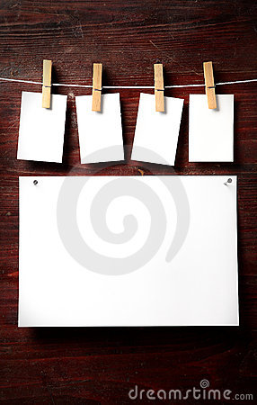 Free Photo Paper Attach To Rope With Clothes Pins Stock Photo - 7374170