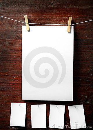 Free Photo Paper Attach To Rope With Clothes Pins Royalty Free Stock Photo - 7374205