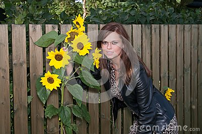 Photo of pretty girl with sunflower