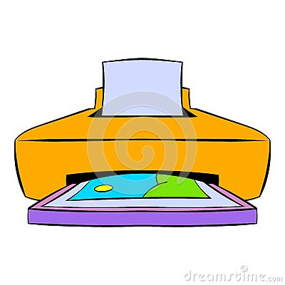 Photo printer icon cartoon