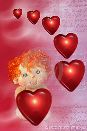 Photo of Red Floating Hearts and Little Cupid Doll with Green
