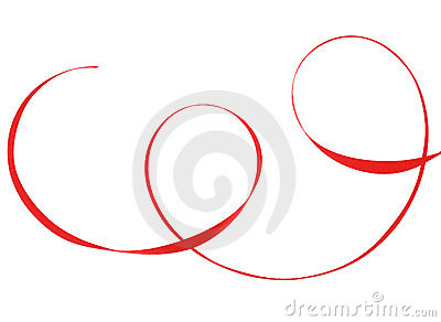 Photo of red ribbon isolated over white