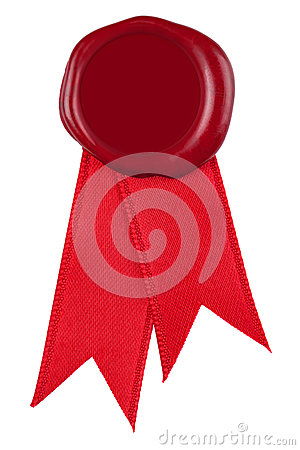 Photo of a red wax seal and ribbon.