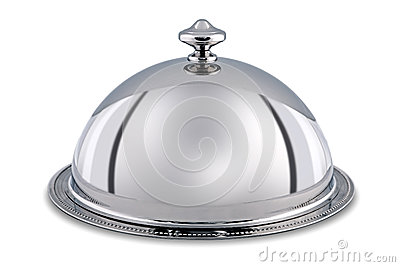 Silver Dome Or Cloche Isolated With Clipping Path Stock
