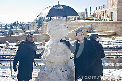 Photo with snowman Editorial Stock Image