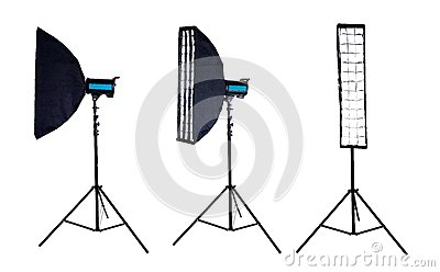Photo softbox on studio flash. Isolated