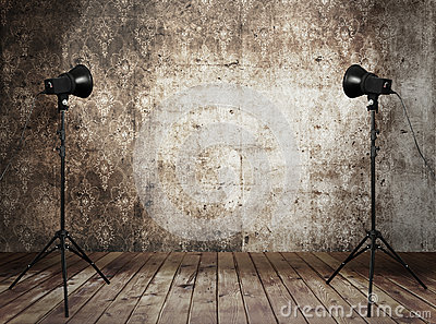 Photo studio in old grunge interior