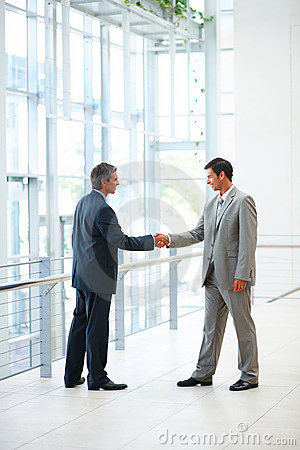 Photo of successful businessmen greeting eachother