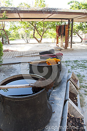 Photo of Traditional dye pots for yarn