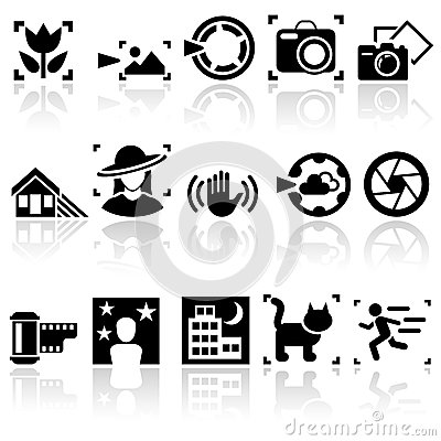 Photo vector icons set. EPS 10.