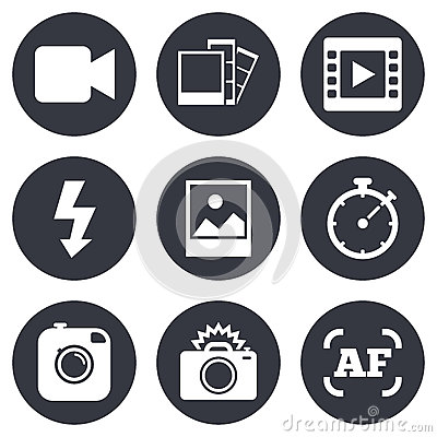 Free Photo, Video Icons. Camera, Photos And Frame Royalty Free Stock Photography - 61033337