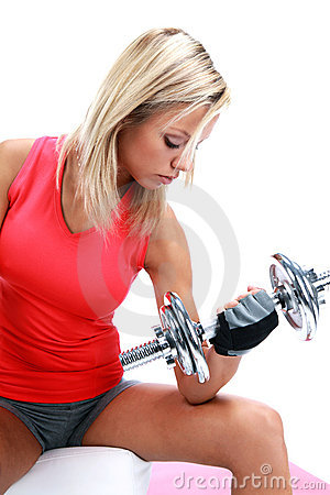 A photo of a woman lifting a weight