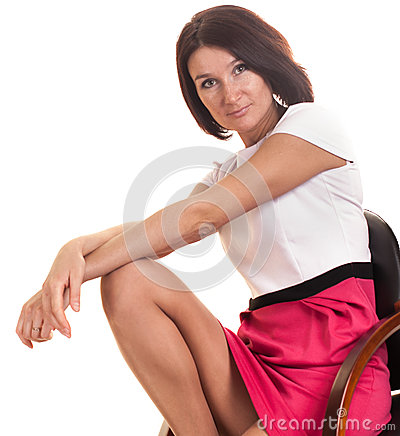 Young lady isolated on white background