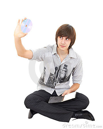 Photo of young man holding a cd dvd isolated
