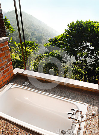 Outdoor bath room with view, tropical hill resort
