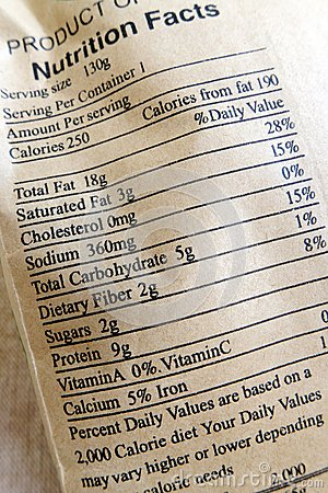 Nutrition facts for healthy snack