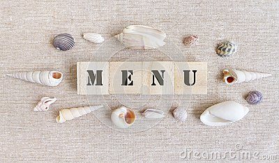 Menu, sea food theme