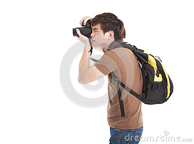 Photographer with backpack