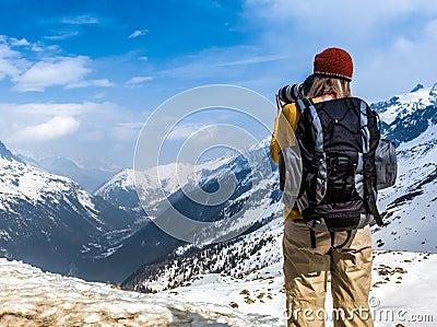 Photographer, at Chamonix Mont Blanc. Editorial Stock Image