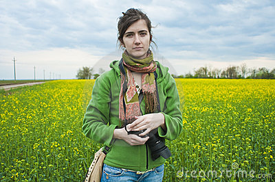 Photographer in countryside