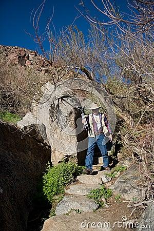 Photographer on desert trail