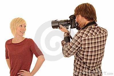 Photographer with model