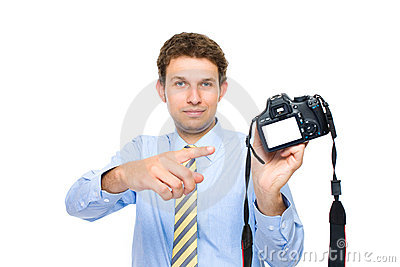 Photographer points to empty dslr back screen
