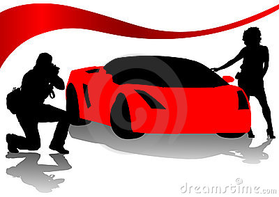 Photographer and red sport cars