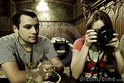 Photographer in restaurant