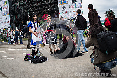 Photographer take a picture of  costumed player Editorial Photo